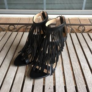 Adriana New York Black Fringe Heels